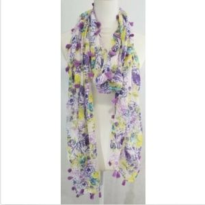 Accessories - Women's Scarf Rectangle Oblong Purple Yellow White